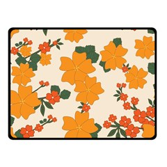 Vintage Floral Wallpaper Background In Shades Of Orange Fleece Blanket (Small)