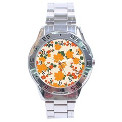 Vintage Floral Wallpaper Background In Shades Of Orange Stainless Steel Analogue Watch