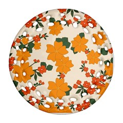 Vintage Floral Wallpaper Background In Shades Of Orange Round Filigree Ornament (Two Sides)