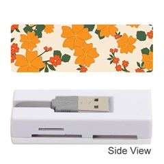 Vintage Floral Wallpaper Background In Shades Of Orange Memory Card Reader (Stick)