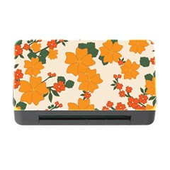 Vintage Floral Wallpaper Background In Shades Of Orange Memory Card Reader With Cf