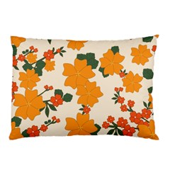 Vintage Floral Wallpaper Background In Shades Of Orange Pillow Case (Two Sides)
