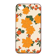 Vintage Floral Wallpaper Background In Shades Of Orange Apple Iphone 4/4s Seamless Case (black)