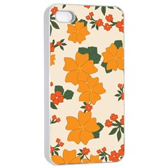 Vintage Floral Wallpaper Background In Shades Of Orange Apple iPhone 4/4s Seamless Case (White)