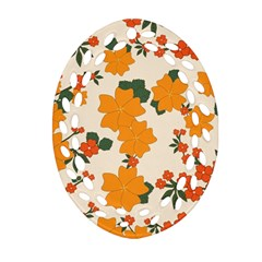 Vintage Floral Wallpaper Background In Shades Of Orange Oval Filigree Ornament (Two Sides)
