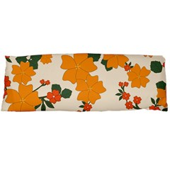 Vintage Floral Wallpaper Background In Shades Of Orange Body Pillow Case Dakimakura (two Sides)
