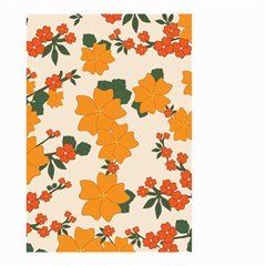 Vintage Floral Wallpaper Background In Shades Of Orange Small Garden Flag (Two Sides)
