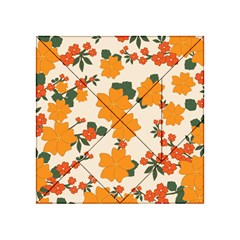 Vintage Floral Wallpaper Background In Shades Of Orange Acrylic Tangram Puzzle (4  x 4 )