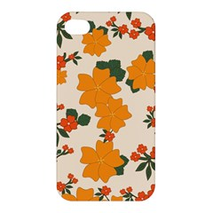 Vintage Floral Wallpaper Background In Shades Of Orange Apple iPhone 4/4S Premium Hardshell Case