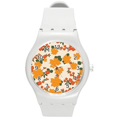 Vintage Floral Wallpaper Background In Shades Of Orange Round Plastic Sport Watch (m)
