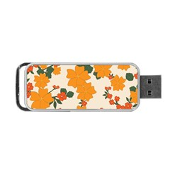 Vintage Floral Wallpaper Background In Shades Of Orange Portable USB Flash (Two Sides)