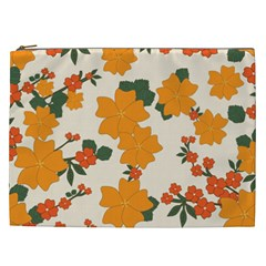 Vintage Floral Wallpaper Background In Shades Of Orange Cosmetic Bag (xxl)