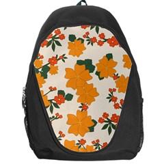 Vintage Floral Wallpaper Background In Shades Of Orange Backpack Bag