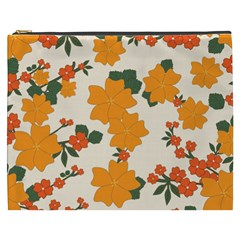 Vintage Floral Wallpaper Background In Shades Of Orange Cosmetic Bag (xxxl)