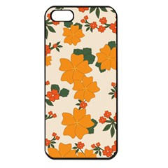 Vintage Floral Wallpaper Background In Shades Of Orange Apple iPhone 5 Seamless Case (Black)