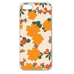 Vintage Floral Wallpaper Background In Shades Of Orange Apple Seamless Iphone 5 Case (clear)