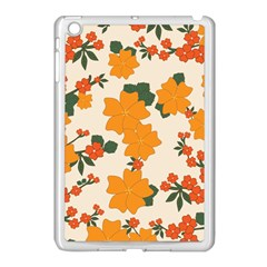 Vintage Floral Wallpaper Background In Shades Of Orange Apple Ipad Mini Case (white)