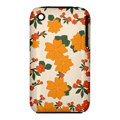 Vintage Floral Wallpaper Background In Shades Of Orange iPhone 3S/3GS