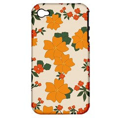 Vintage Floral Wallpaper Background In Shades Of Orange Apple iPhone 4/4S Hardshell Case (PC+Silicone)