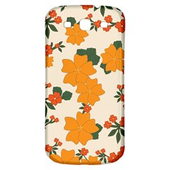 Vintage Floral Wallpaper Background In Shades Of Orange Samsung Galaxy S3 S III Classic Hardshell Back Case