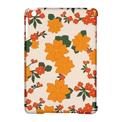 Vintage Floral Wallpaper Background In Shades Of Orange Apple iPad Mini Hardshell Case (Compatible with Smart Cover)