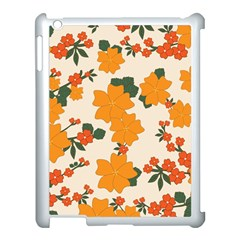 Vintage Floral Wallpaper Background In Shades Of Orange Apple Ipad 3/4 Case (white)
