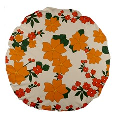 Vintage Floral Wallpaper Background In Shades Of Orange Large 18  Premium Round Cushions