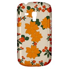 Vintage Floral Wallpaper Background In Shades Of Orange Galaxy S3 Mini