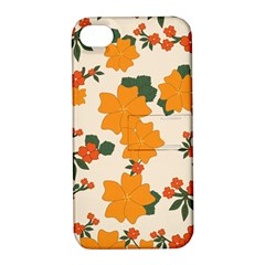 Vintage Floral Wallpaper Background In Shades Of Orange Apple iPhone 4/4S Hardshell Case with Stand