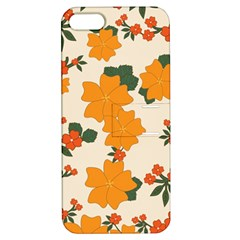 Vintage Floral Wallpaper Background In Shades Of Orange Apple Iphone 5 Hardshell Case With Stand