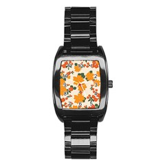 Vintage Floral Wallpaper Background In Shades Of Orange Stainless Steel Barrel Watch