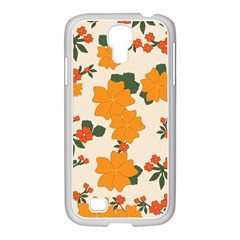 Vintage Floral Wallpaper Background In Shades Of Orange Samsung GALAXY S4 I9500/ I9505 Case (White)