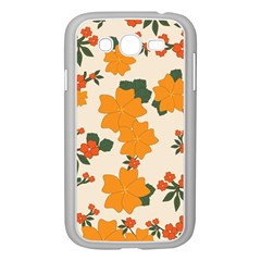 Vintage Floral Wallpaper Background In Shades Of Orange Samsung Galaxy Grand DUOS I9082 Case (White)