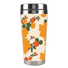 Vintage Floral Wallpaper Background In Shades Of Orange Stainless Steel Travel Tumblers