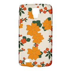 Vintage Floral Wallpaper Background In Shades Of Orange Galaxy S4 Active