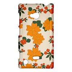 Vintage Floral Wallpaper Background In Shades Of Orange Nokia Lumia 720