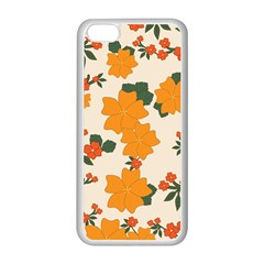 Vintage Floral Wallpaper Background In Shades Of Orange Apple iPhone 5C Seamless Case (White)
