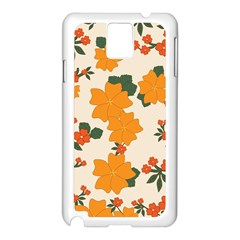 Vintage Floral Wallpaper Background In Shades Of Orange Samsung Galaxy Note 3 N9005 Case (White)