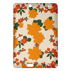 Vintage Floral Wallpaper Background In Shades Of Orange Amazon Kindle Fire Hd (2013) Hardshell Case