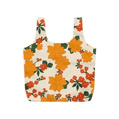 Vintage Floral Wallpaper Background In Shades Of Orange Full Print Recycle Bags (s)