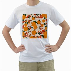 Vintage Floral Wallpaper Background In Shades Of Orange Men s T Shirt (white)