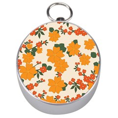 Vintage Floral Wallpaper Background In Shades Of Orange Silver Compasses