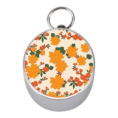Vintage Floral Wallpaper Background In Shades Of Orange Mini Silver Compasses
