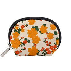 Vintage Floral Wallpaper Background In Shades Of Orange Accessory Pouches (Small)