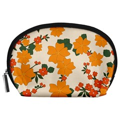 Vintage Floral Wallpaper Background In Shades Of Orange Accessory Pouches (large)