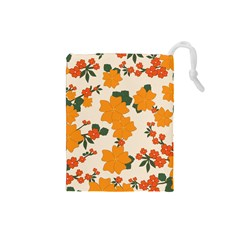 Vintage Floral Wallpaper Background In Shades Of Orange Drawstring Pouches (Small)