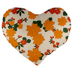 Vintage Floral Wallpaper Background In Shades Of Orange Large 19  Premium Flano Heart Shape Cushions