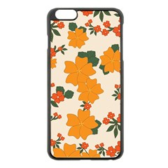 Vintage Floral Wallpaper Background In Shades Of Orange Apple iPhone 6 Plus/6S Plus Black Enamel Case