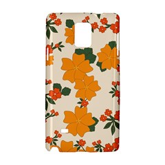 Vintage Floral Wallpaper Background In Shades Of Orange Samsung Galaxy Note 4 Hardshell Case