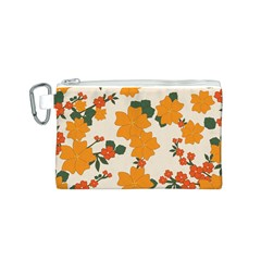 Vintage Floral Wallpaper Background In Shades Of Orange Canvas Cosmetic Bag (S)